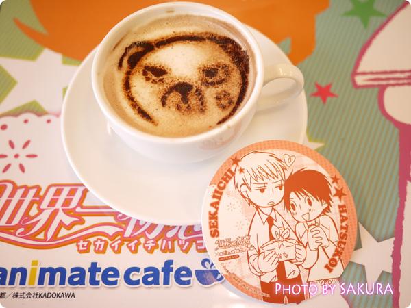 世界一初恋×アニメイトカフェ 横澤クマのラテアートとコースター